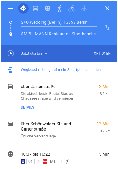 Google Maps kostenloser Routenplaner
